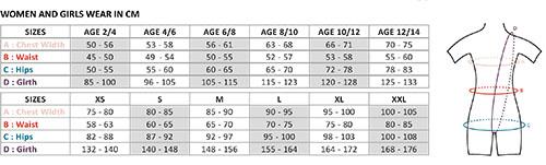 ウェアモアサイズ表